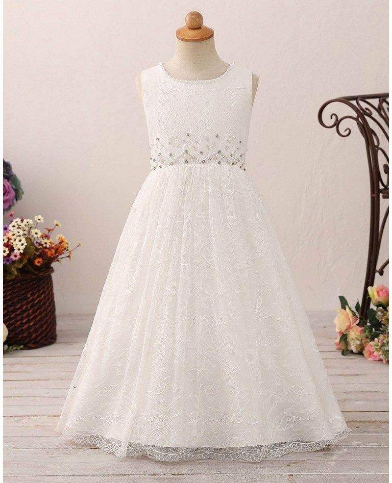 Vintage Long Lace Flower Girl Dress With Beading For