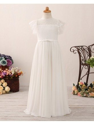 Modern A Line Long Chiffon Flower Girl Dress with Lace Top