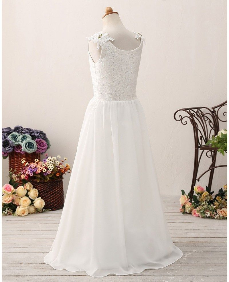Elegant Chiffon Long Lace Flower Girl Dress For Teen Girls