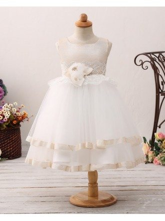 Champagne Tulle Lace Short Tutu Flower Girl Dress For Toddlers
