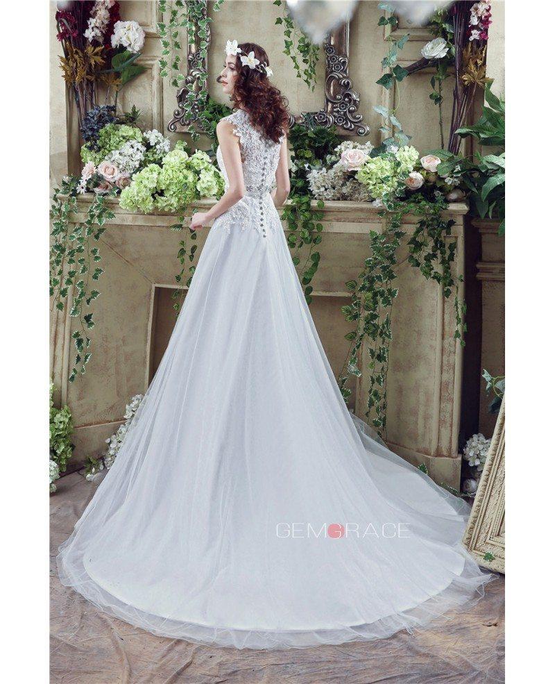 A-line V-neck Short Sleeves Chapel-train Wedding Dress #C30267 $159 ...