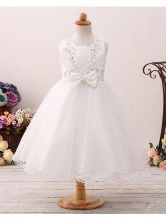 Beaded Lace Ivory Short Flower Girl Dress For Little Girls