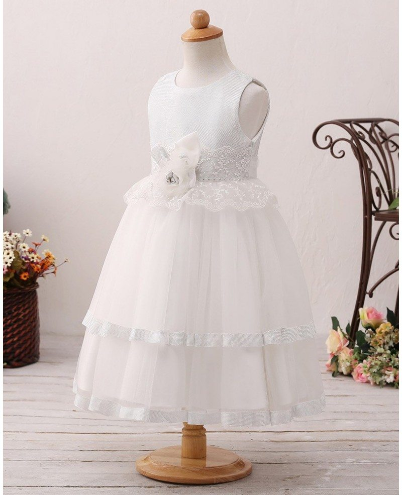 Ivory Layered Short Flower Girl Dress with Lace For Beach Wedding ...