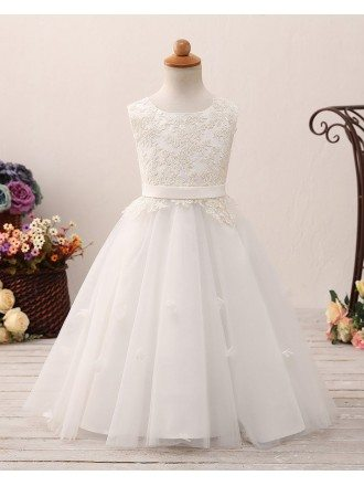 Unique Long Tulle Corset Flower Girl Dress with Lace Bodice For Teens