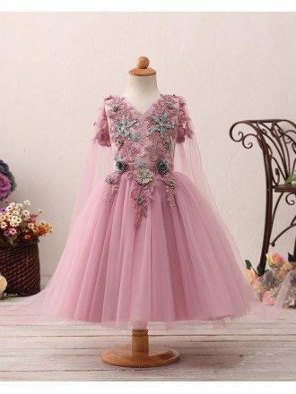 Fantastic Purple Fairytale Flower Girl Dress with Applique Floral