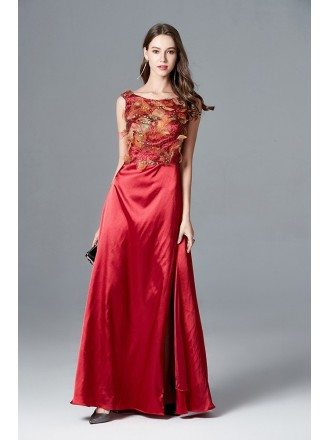 Split Red Scoop Neck Formal Dress Long With Yellow Bodice