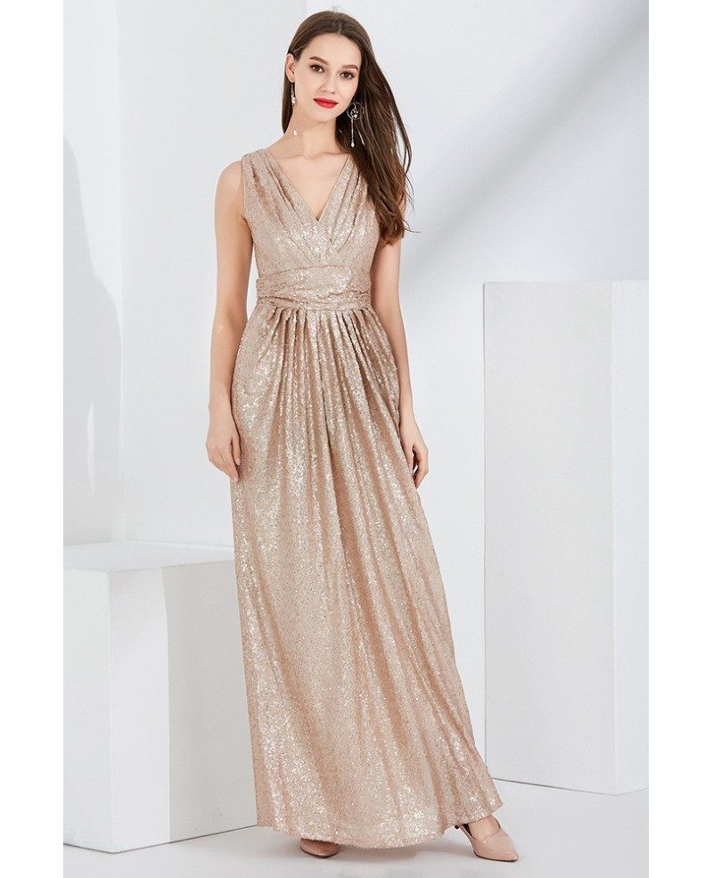 Sparkly Gold Sequin Pleated V Neck Evening Dress In Floor Length ...