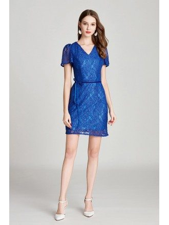 Blue Lace V Neck Short Party Dress With Sash Sleeves