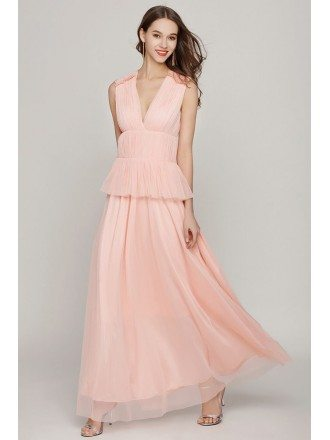 Fashion Pink Long V Neck Evening Dress For Woman