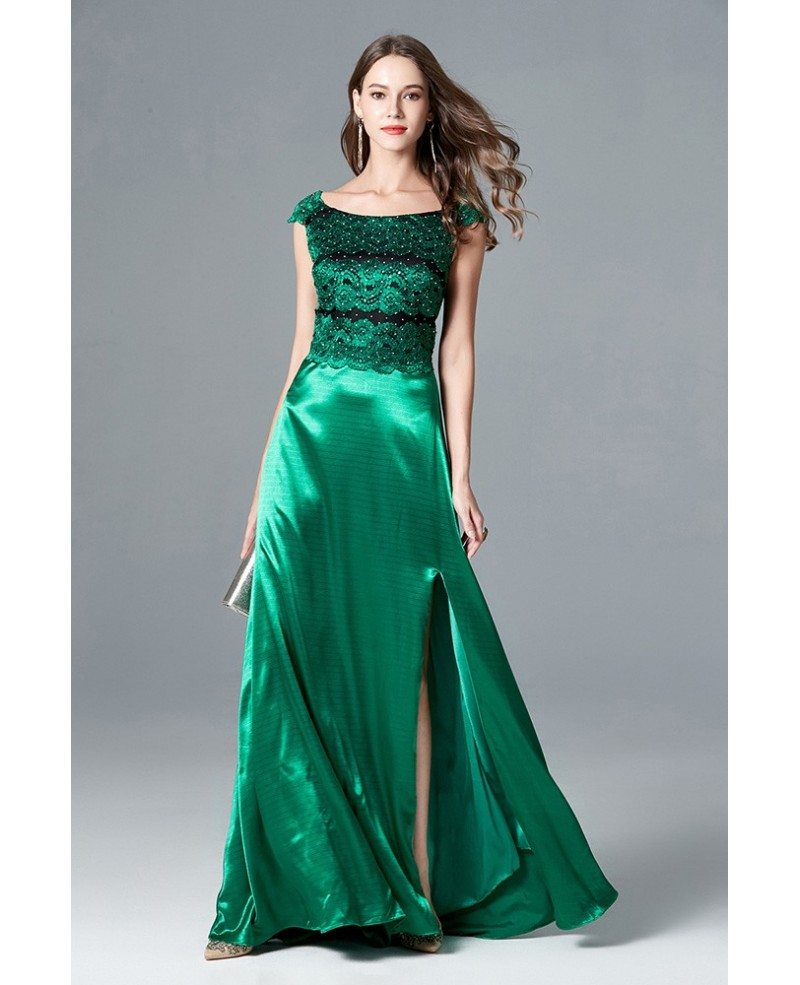 Cap Sleeve Split Long Green Evening Dress With Lace Beading Bodice ...