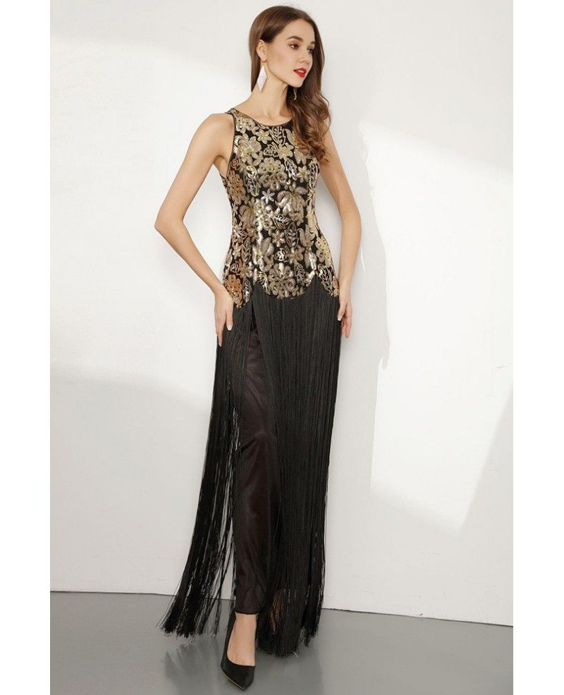 Sparkly Sequin Gold And Black Fringed Prom Dress #CK778 - GemGrace.com