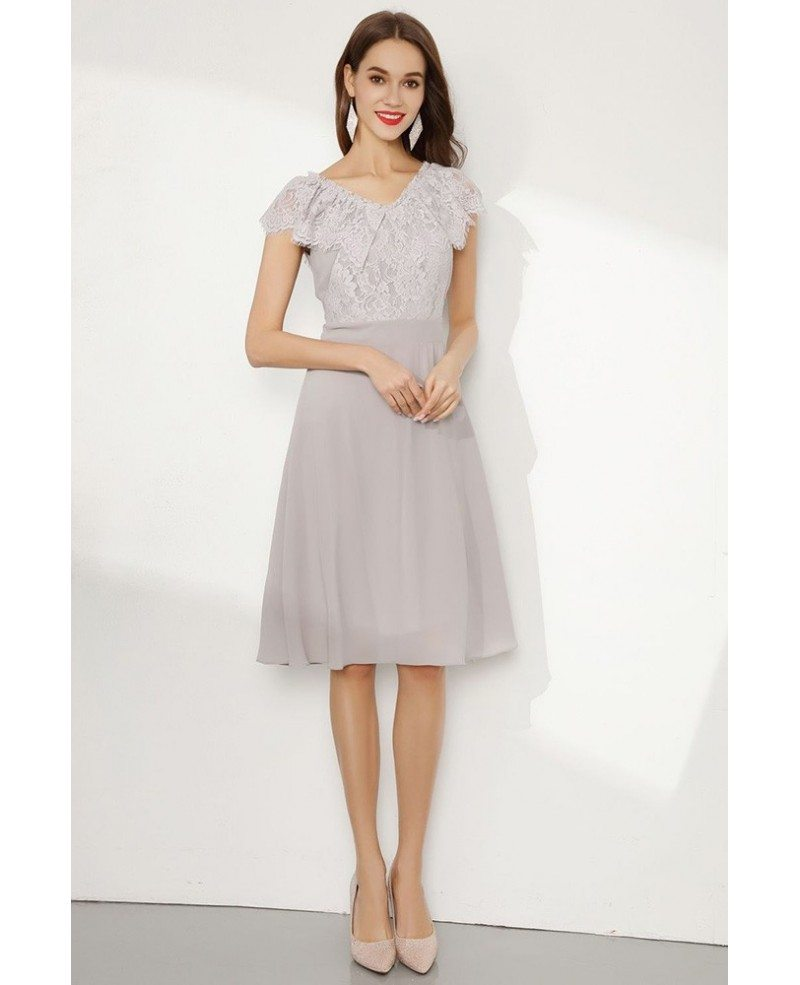 short grey cap sleeve prom dress with falbala lace neck