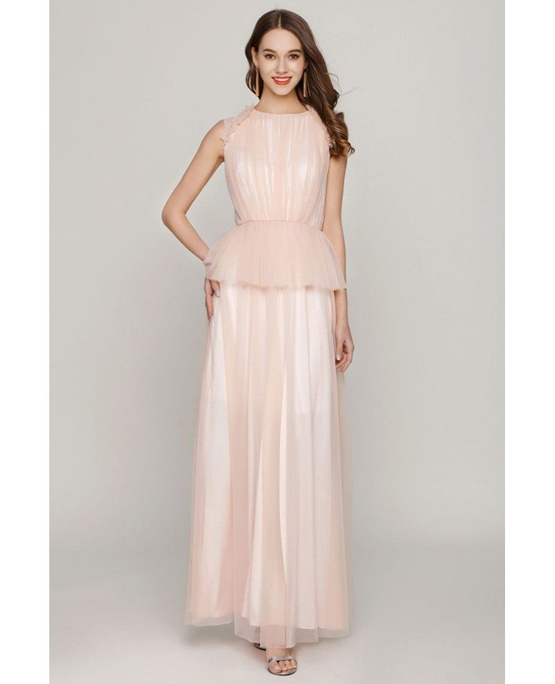 Long Peach Tulle Ruched Prom Dress For Juniors #CK763 - GemGrace.com