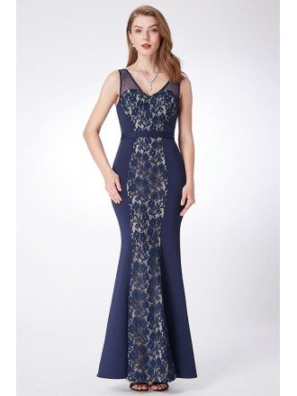 Navy Blue Long Lace Fitted Formal Dress With Sweetheart