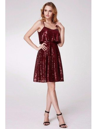 Sparkly Sequined Short Burgundy Party Dress Ruffled Bodice