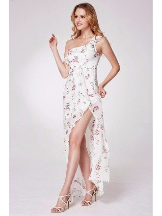 Sexy Hi Low Flora Print Prom Dress In One Shoulder