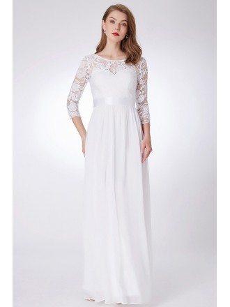 Elegant Long White Evening Gown 3/4 Sleeves Empire Waist