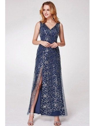 Navy Blue Long Slit Party Dress With Sequined Roses