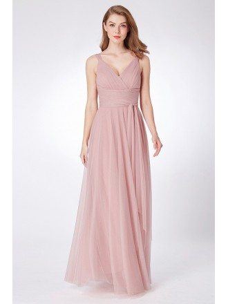 Dusty Rose Simple Pleated Tulle Bridesmaid Dress Floor Length