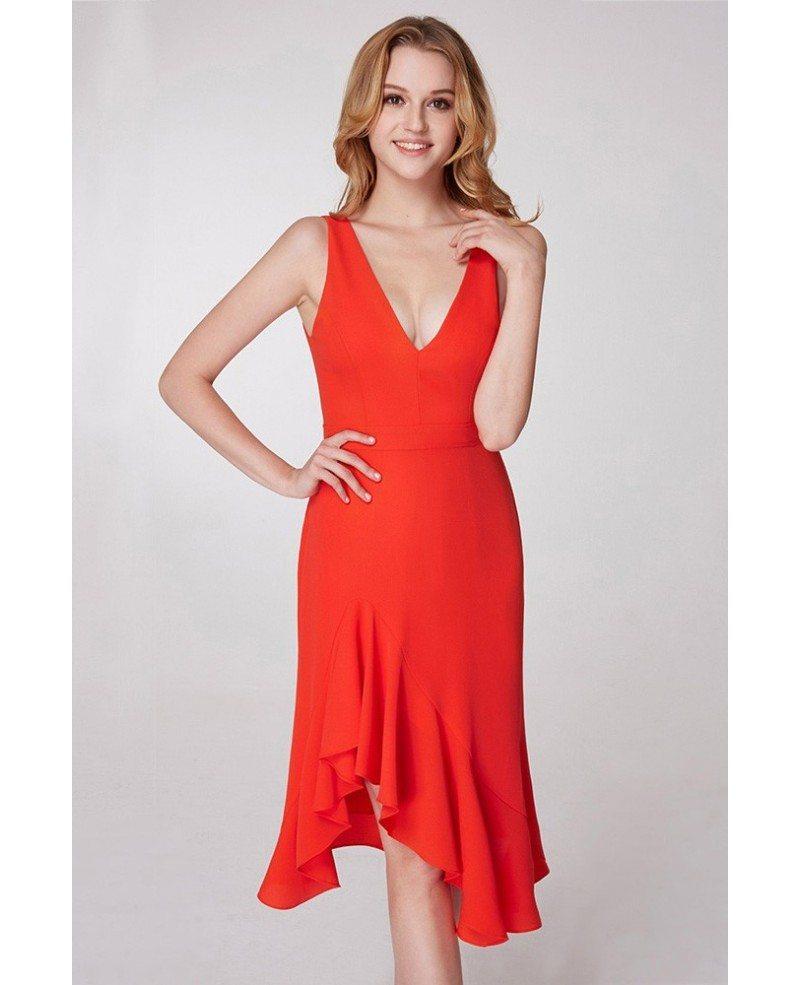 $57 Short Hi Low Orange Prom Dress With V Neck #EP05977OR - GemGrace.com