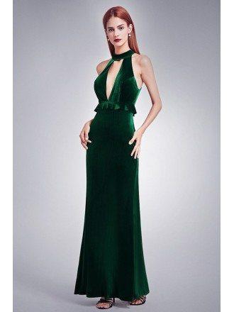 Dark Green Deep V Sexy Evening Dress With High Collar Neck