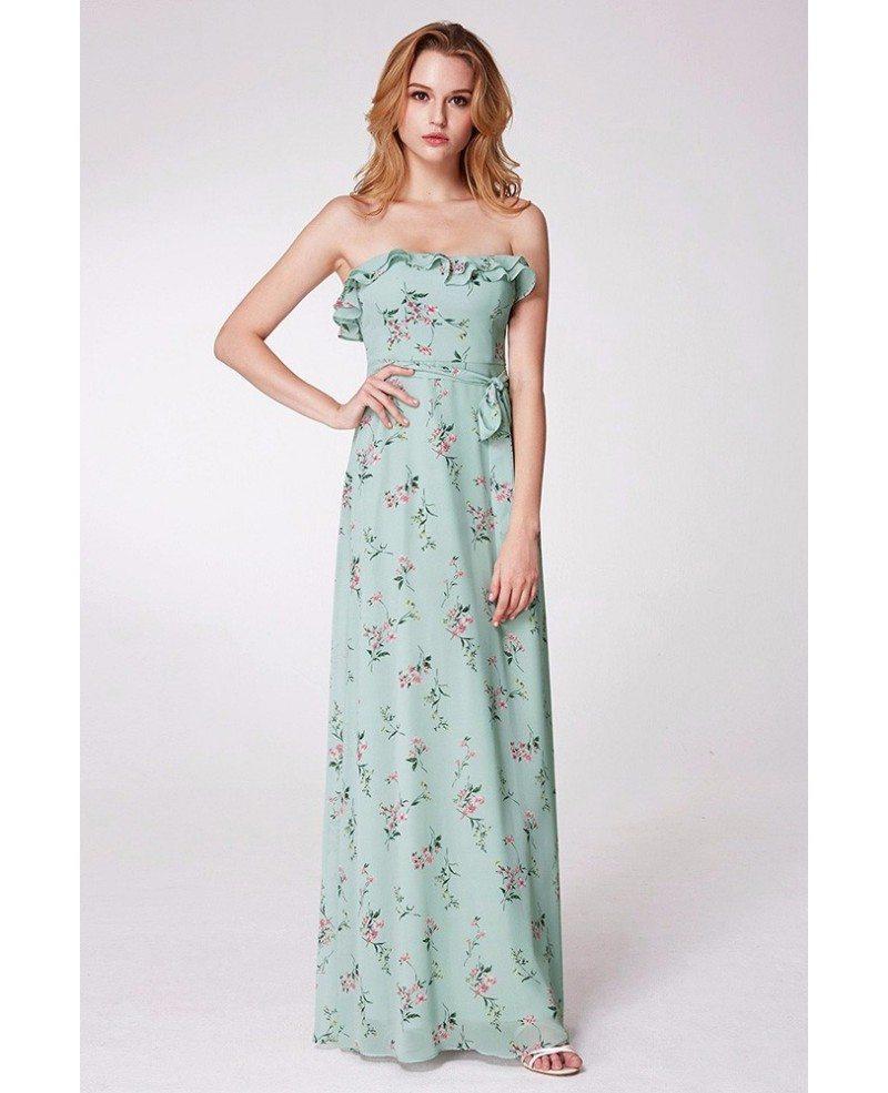 $57 Mint Green Flora Print Bridesmaid Dress Strapless #EP07242MG ...
