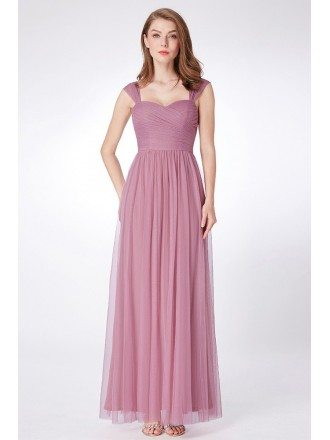 Purple Orchid Long Flowy Tulle Bridesmaid Dress Feminine