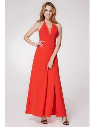 Long Halter Orange Bridesmaid Dress With Slit Front