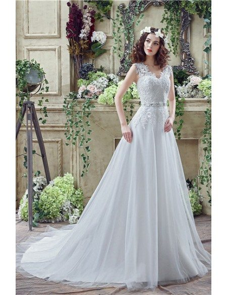 A-line V-neck Short Sleeves Chapel-train Wedding Dress #C30267 $159 ...