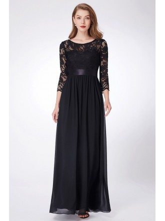 Elegant Black Long Chiffon Evening Dress With Lace Sleeves