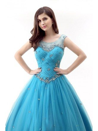 Ball-Gown Scoop Neckt Sweep Train Tulle Prom Dress With Ruffles Beading