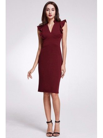 Modest V Neck Burgundy Ruched Formal Dress In Knee Length
