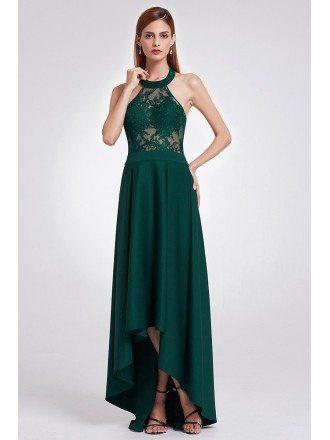 Elegant Halter High Low Green Lace Evening Dress