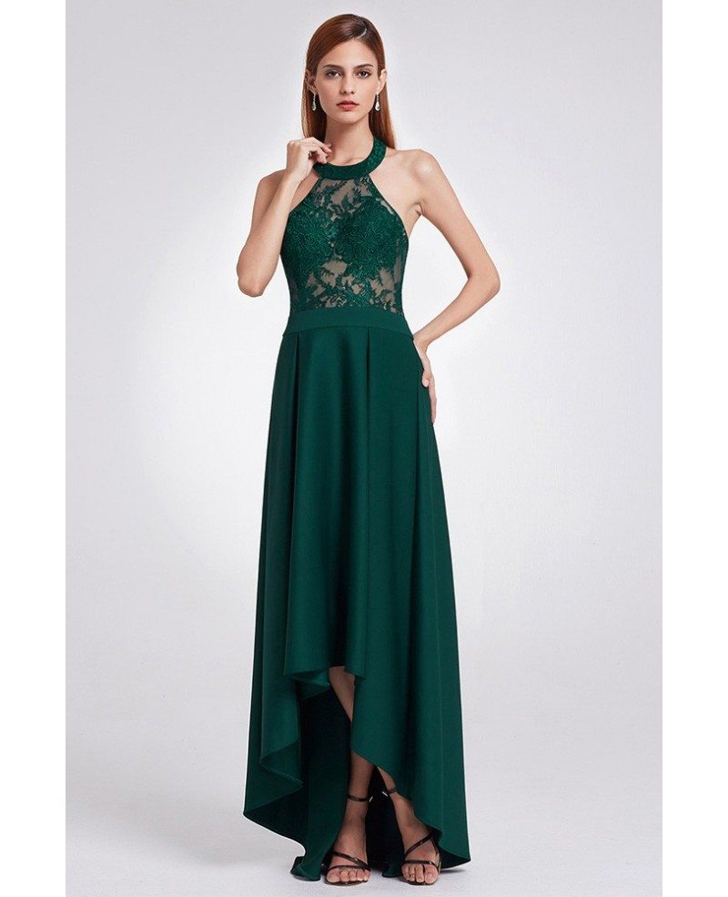 $69 Elegant Halter High Low Green Lace Evening Dress # ...