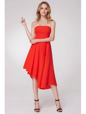 A Line Orange Short Prom Dress In Asymmetrical Hem