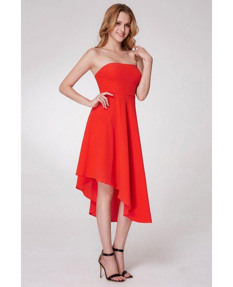 $57 A Line Orange Short Prom Dress In Asymmetrical Hem #EP05979OR ...