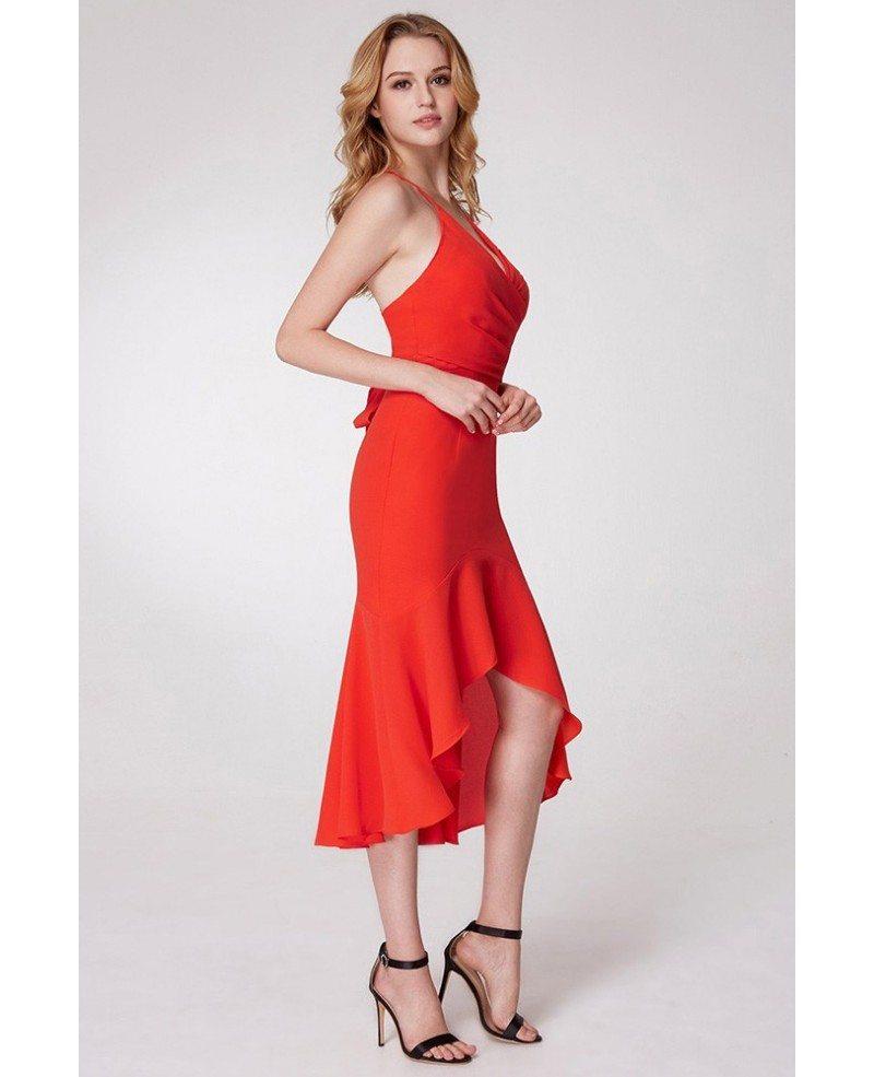 $61 Hi Low Orange Fishtail Prom Dress With Adjustable Straps ...