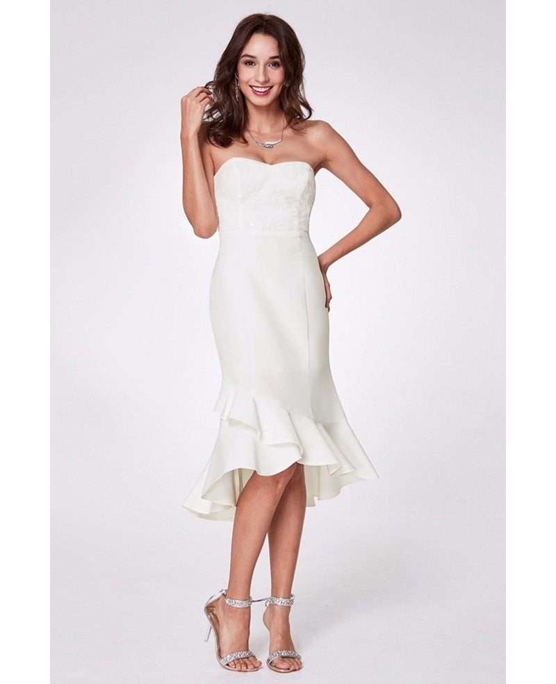 Short Lace Sweetheart White Homecoming Dresses - alinanova