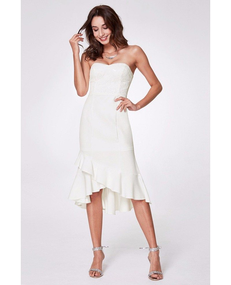 $61 Strapless White Hi Low Prom Dress Short With Lace Bodice ...