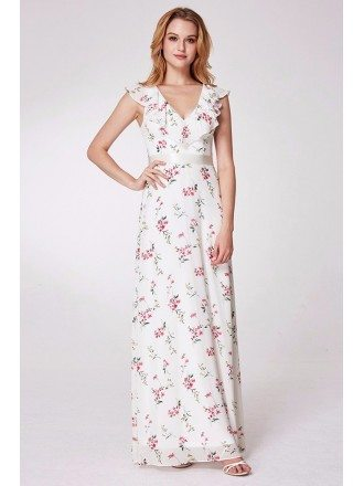 White With Pink Flora Print Bridesmaid Dress Sweetheart