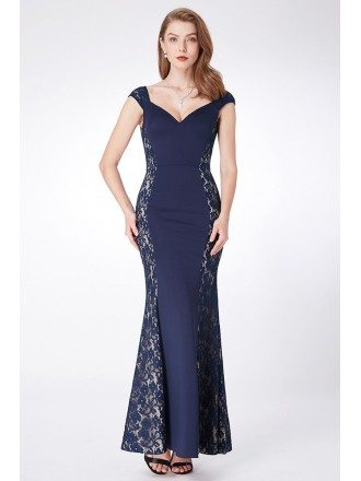 Navy Blue Long Mermaid Lace Evening Dress Sweetheart