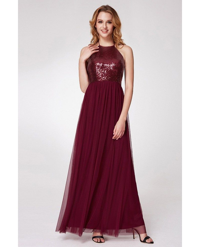 $57 Burgundy Long Sequined Halter Evening Gown For Prom #EP07286BD ...