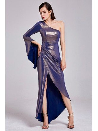 High Low Gold Purple Party Dress One Shoulder Flare Sleeve