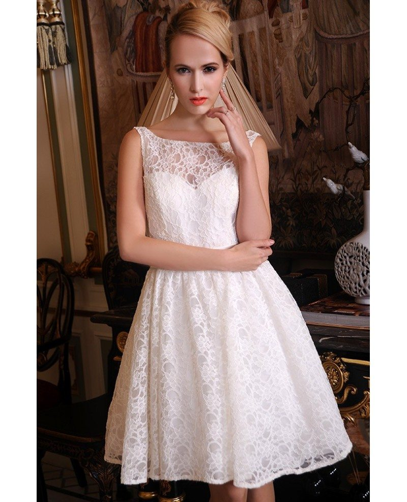 Vintage Ivory Short Wedding Dress Country A-Line Scoop