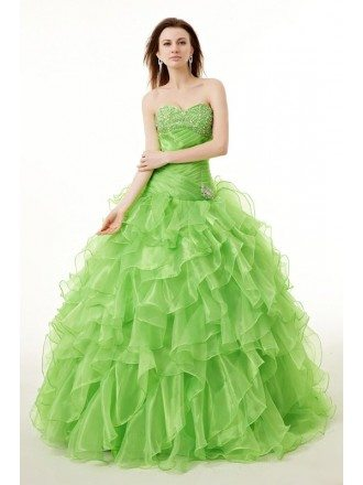Sequined Organza Formal Long Quinceanera Dress