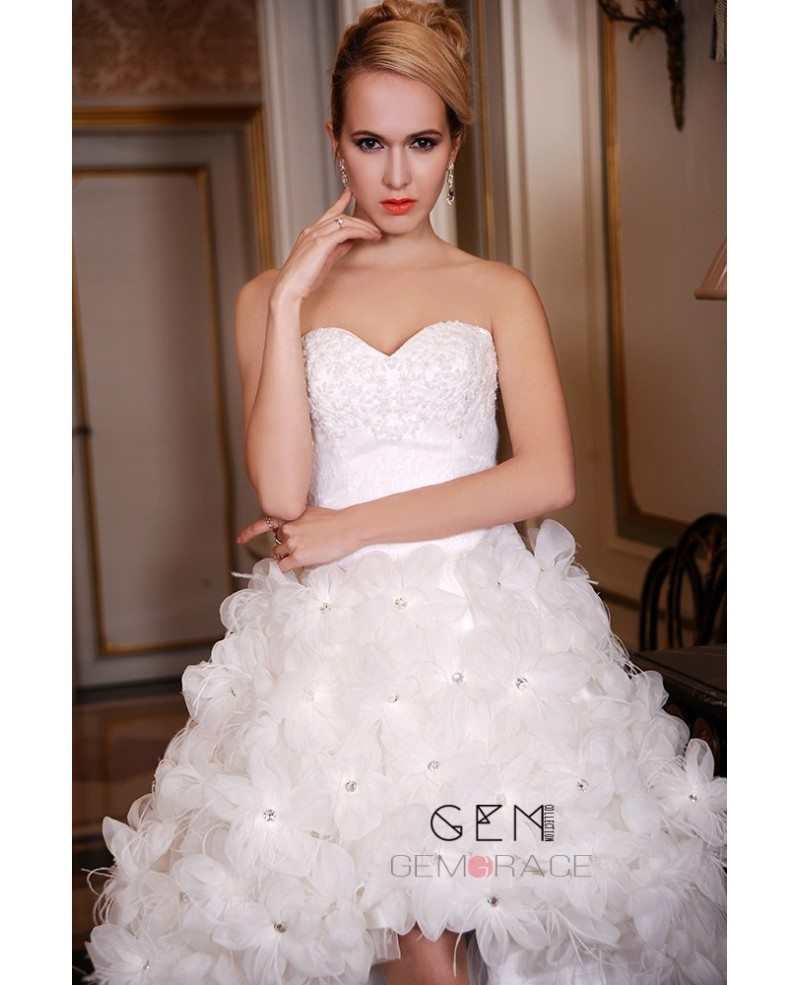 Unique High Low Wedding Dresses Poofy With Train A-Line Sweetheart ...
