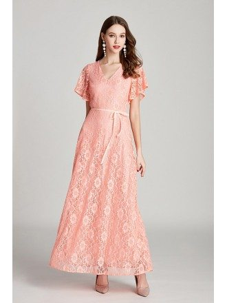 Beautiful Long Pink Lace V Neck Evening Dress With Flare Sleeves