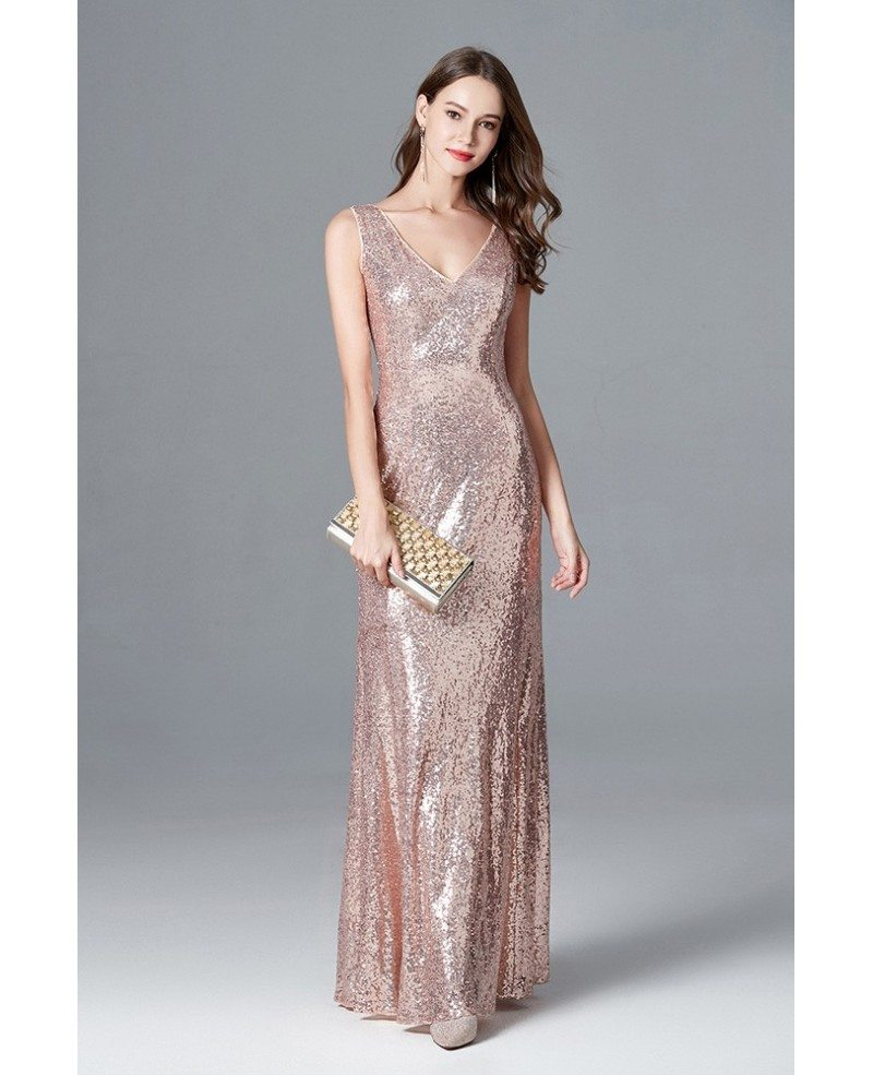 Rose Gold Prom Silvers: Sparkly Rose Gold Sequin Long Mermaid Prom Dress