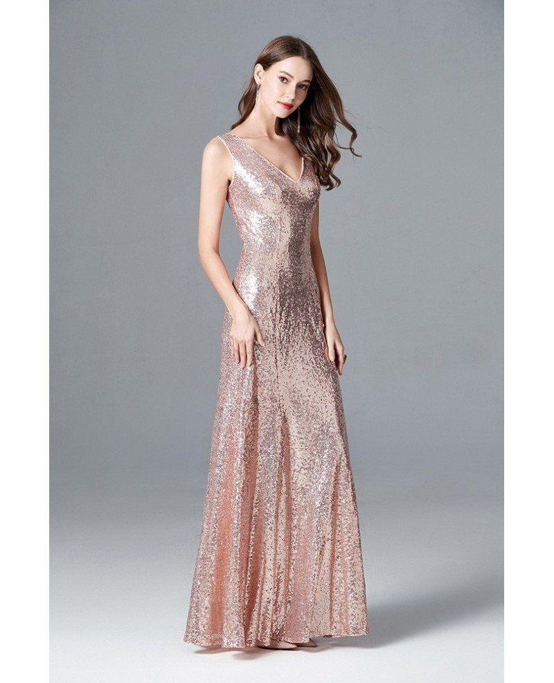 Sparkly Rose Gold Sequin Long Mermaid Prom Dress