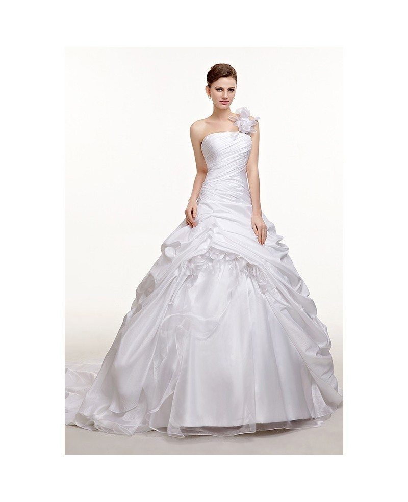 One Shoulder Ruffled Ballgown Taffeta Wedding Dress Train Length ...